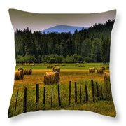 Priest Lake Hay Bales II Throw Pillow