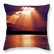 Priest Lake Sunset Heavenly Light Throw Pillow