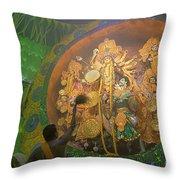 Priest Praying To Goddess Durga Durga Puja Festival Kolkata India Throw Pillow