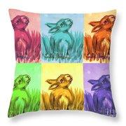 Primary Bunnies Throw Pillow