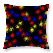 Primary Bursts Under Glass Throw Pillow