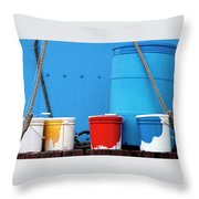 Primary Colors - Paint Buckets On A Ship Throw Pillow