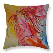 Primary Horse Throw Pillow