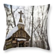 Primitive Church In The Mountains Throw Pillow