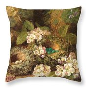 Primroses And Bird's Nests On A Mossy Bank Throw Pillow