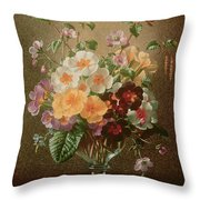 Primulas In A Glass Vase  Throw Pillow