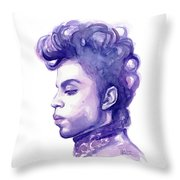 Prince Musician Watercolor Portrait Throw Pillow