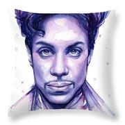 Prince Purple Watercolor Throw Pillow