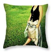 Princess Along The Grass Throw Pillow