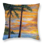 Princeville Beach Palms Throw Pillow