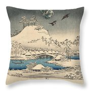 Print From The Tale Of Genji Throw Pillow