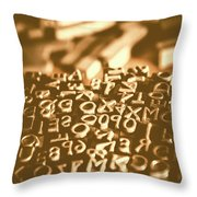 Print Industry Typographic Letters And Numbers Throw Pillow