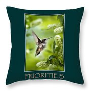 Priorities Inspirational Motivational Poster Art Throw Pillow by Christina Rollo