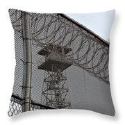 Prison Tower And Fence Throw Pillow