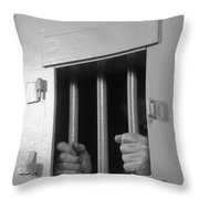 Prisoners Hands Gripping Bars, C.1980s Throw Pillow