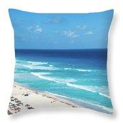 Pristine Beach In Cancun Throw Pillow