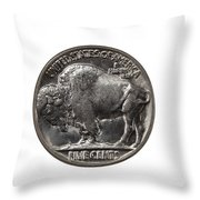 Pristine Buffalo Nickel On White Background  Throw Pillow