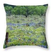 Private Property -wildflowers Of Texas. Throw Pillow