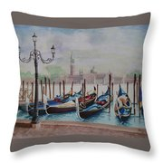 Parking Gondolas In Venice Throw Pillow by Charles Hetenyi