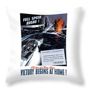 Produce For Your Navy Throw Pillow by War Is Hell Store