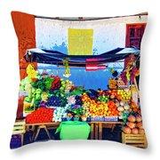 Produce Seller Throw Pillow