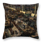 Production Of Tanks Throw Pillow