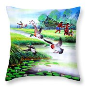 Artistic Painting Photo Flying Bird Handmade Painted Village Art Photo Throw Pillow