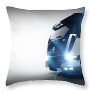 Professional Cargo Delivery Truck With Long Trailer. Banner Throw Pillow