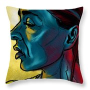 Profile In Blue Throw Pillow