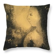 Profile Of A Woman With Flowers Throw Pillow
