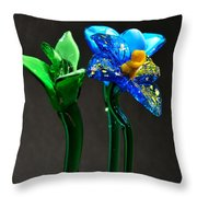Profile Of Glass Flowers Throw Pillow