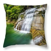 Profile Of The Lower Falls At Enfield Glen Throw Pillow