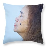 Profile Portrait Of A Lovely Filipina With A Mole On Her Cheek   Throw Pillow