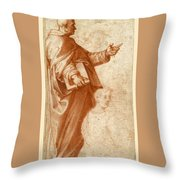 Profile Study Of A Standing Saint Holding A Book With Subsidiary Studies Of Three Additional Figures Throw Pillow