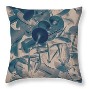 Projected Abstract Blue Thumbtacks Background Throw Pillow