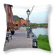 Promenade And Boats At Barton Marina Throw Pillow
