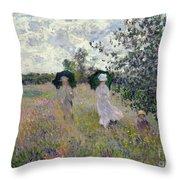 Promenade Near Argenteuil Throw Pillow by Claude Monet