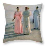 Promenade On The Beach Throw Pillow by Michael Peter Ancher