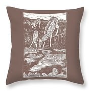 Pronghorns At Waterhole Throw Pillow