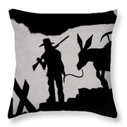 Prospector And Mule  In Metal Tombstone Arizona 2004-2014 Throw Pillow