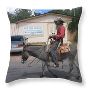 Prospector Re-enactor With Burro Passing Rose Bush Museum Sign Tombstone  Arizona 2004 Throw Pillow