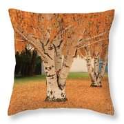 Prosser - Autumn Birch Trees Throw Pillow