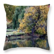 Prosser - Autumn Reflection With Geese Throw Pillow