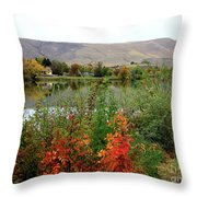 Prosser Autumn River With Hills Throw Pillow