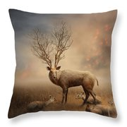 Deer Warm Tone Throw Pillow