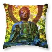 Protection Buddha #2 In Japanese Tea Garden At Golden Gate Park - San Francisco Throw Pillow
