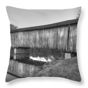 Protection That Works Historic Watson Mill Covered Bridge Throw Pillow