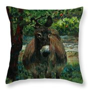 Provence Donkey Throw Pillow by Nadine Rippelmeyer