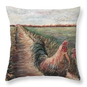 Provence Roosters Throw Pillow