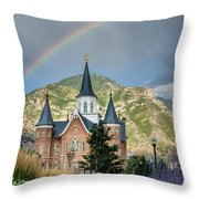 Provo Temple Fairy Tale Throw Pillow